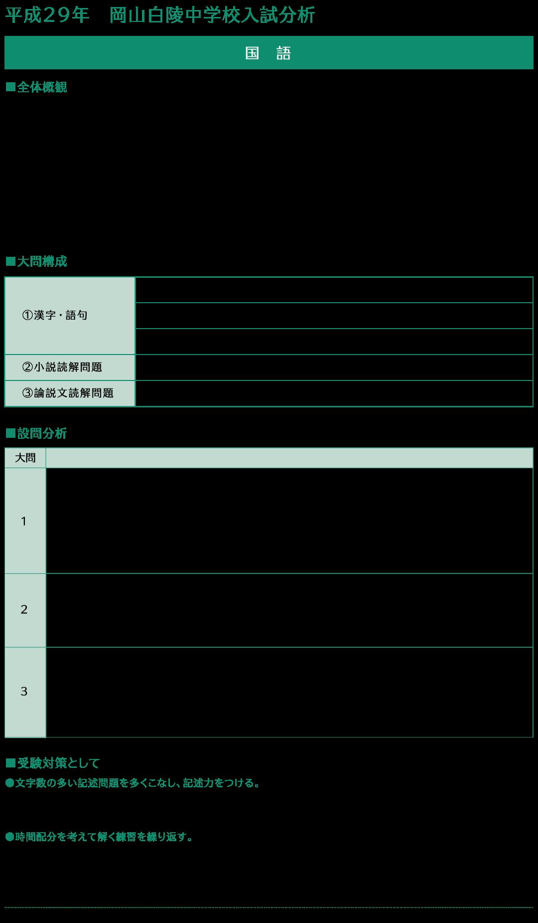 平成29年岡山白陵中学校入試分析国語