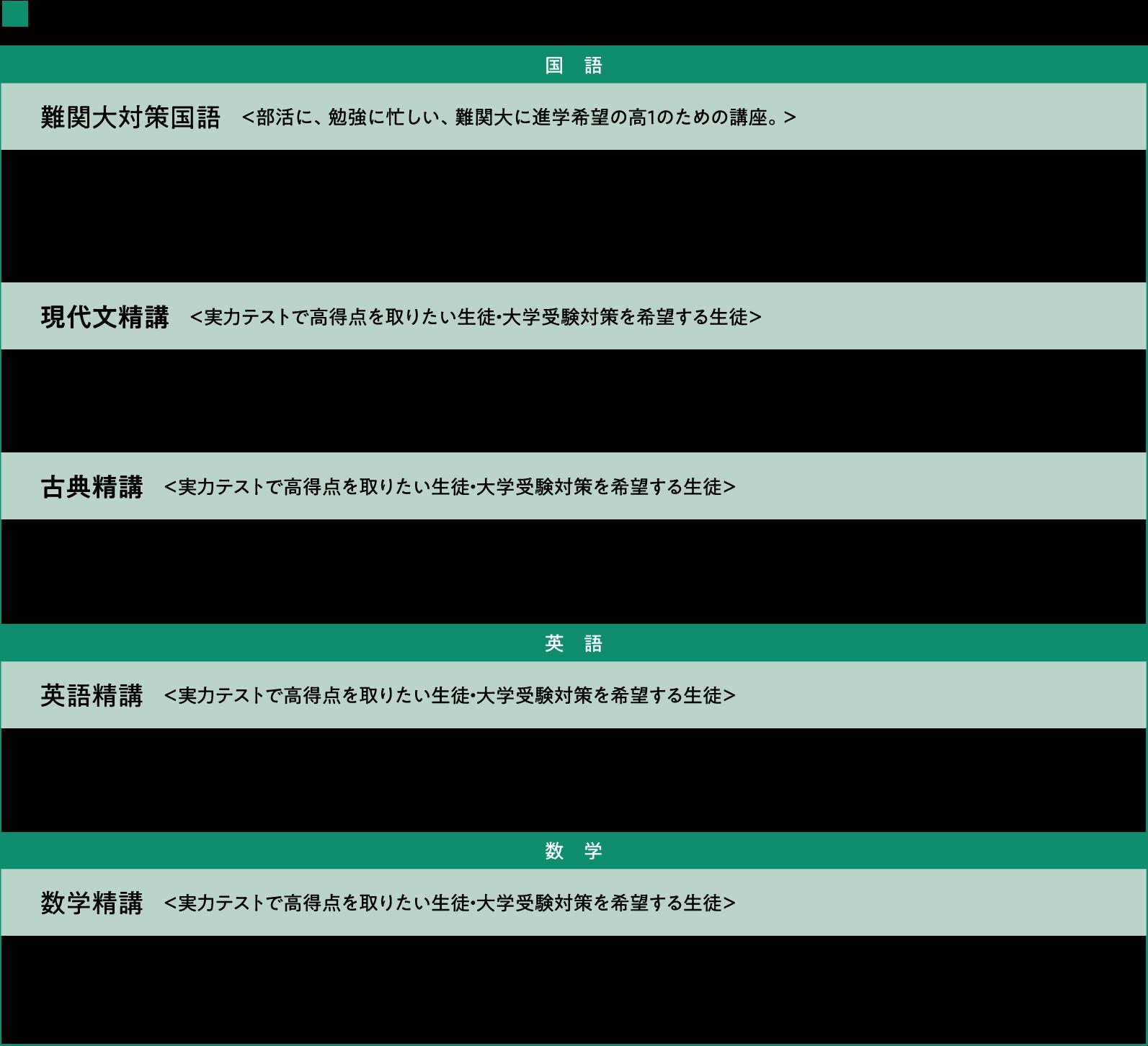 既卒/高等部 講座紹介>2019年度版 既卒/高1